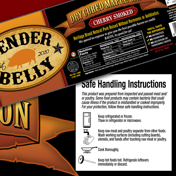 Tender Belly Bacon Safe Handling Instructions Label Design