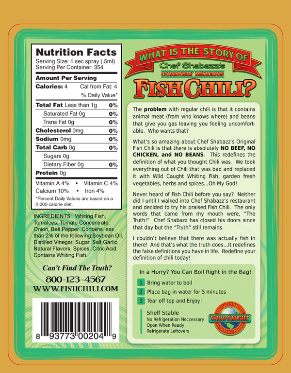 Version Two Back Label of Chef Shabazz's Fish Chili Vertical Nutritional Panel