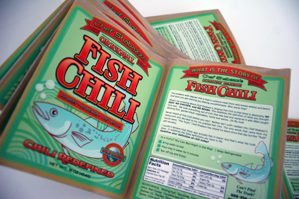 Chef Shabazzs Fish Chil Printed labels on a Roll