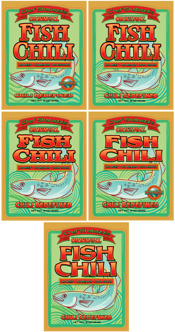 Chef Shabazzs Fish Chili Package Design Comps