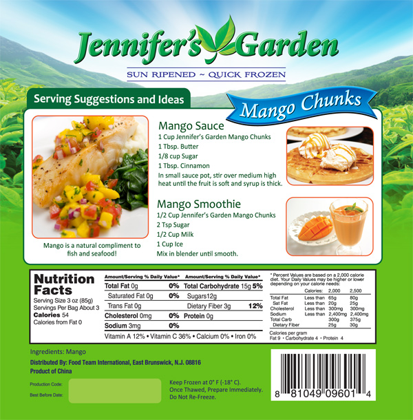 Mango Stand Up Pouch Design Jennifers Garden Nutritional Panel