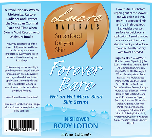 Label Designs for Lucre Naturals Forever Bare Body Lotion