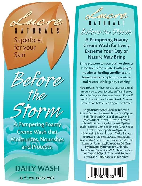 Label Designs for Lucre Naturals Before the Storm Daily Wash