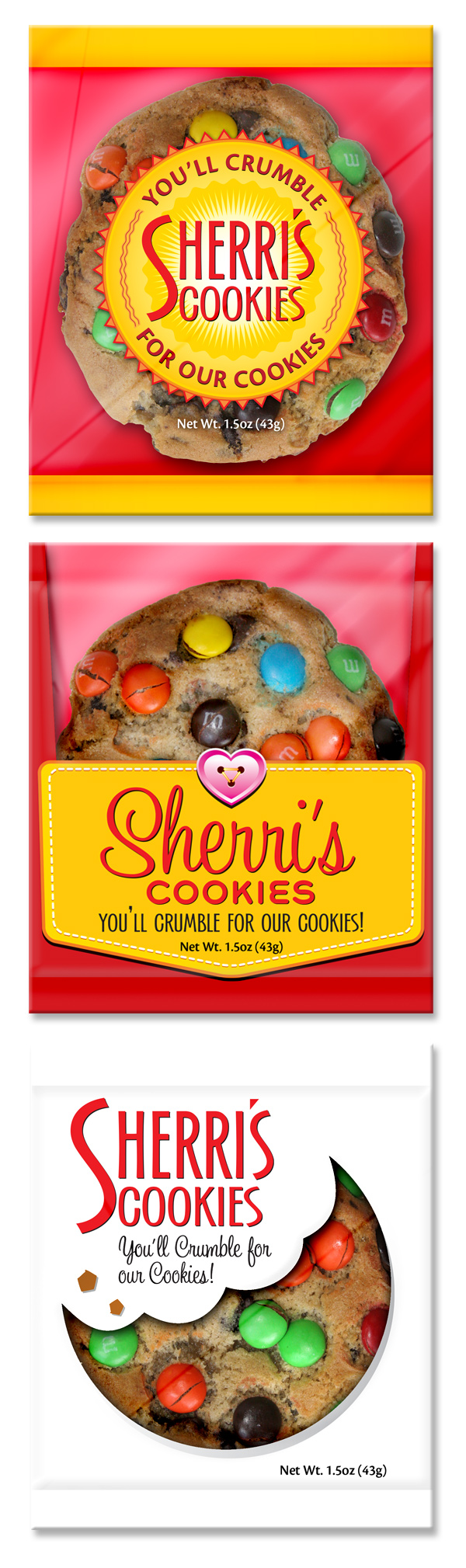 Three Sherris Cookies Package Wrapper Design Concepts