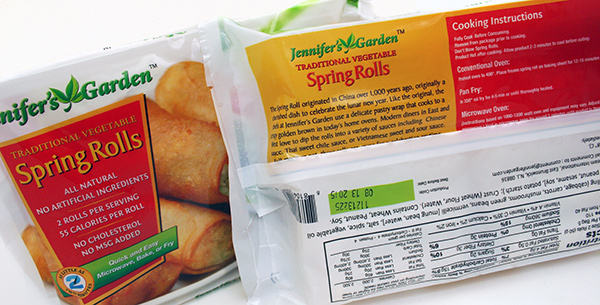 Jennifer's Garden Spring Rolls Package Design