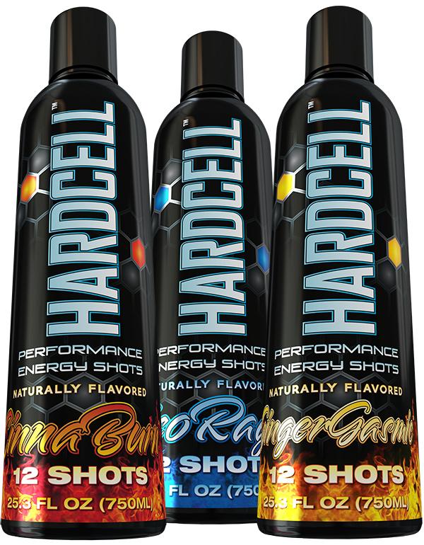 Hardcell CinnaBurn, Licorage, and GingerGasmic Energy Shot Bottle Designs