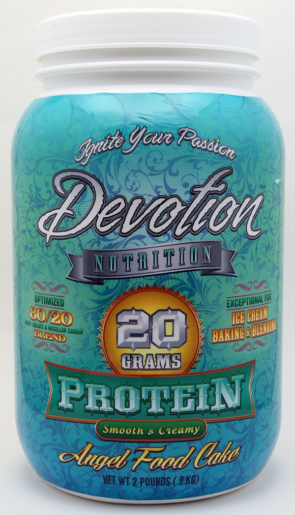 Devotion Nutrition Angelfood Cake Protein Powder Shrink Sleeve Label Design