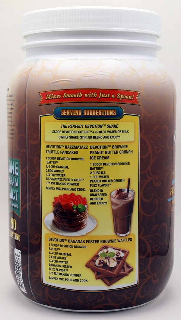 Devotion Nutrition Brownie Batter Protein Powder Shrink Sleeve Label Design