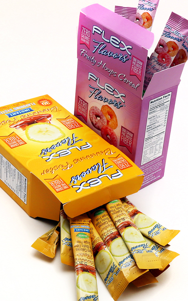 Flex Flavors Bananas Foster and Fruity Hoops Cereal Box and Stick Pack Designs