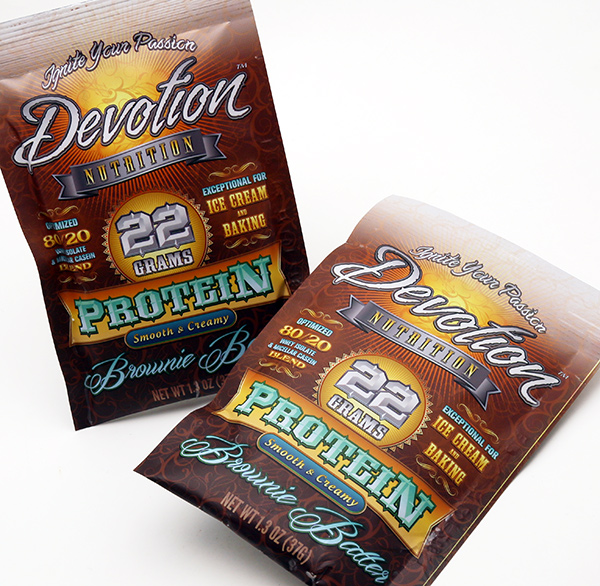 Devotion Nutrition Protein Powder Sample Sachet Pouch Design