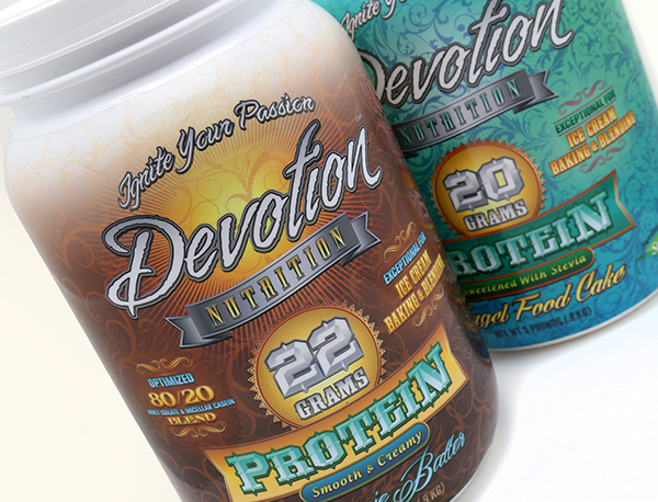 Devotion Nutrition Protein Powder Shrink Sleeve Label Design