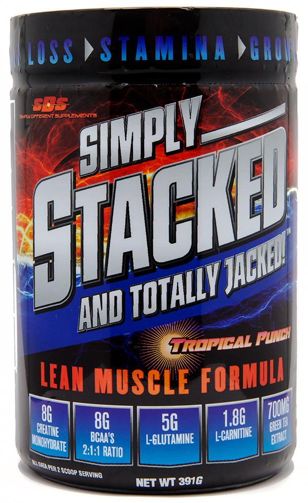 Simply Stacked and Totally Jacked Supplement Shrink Sleeve Label Design