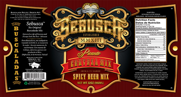 Sebusca Cerveza Mix Bottle Label Design
